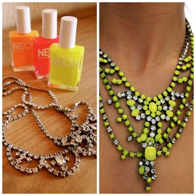 Make your own Tom Binns look alike with thrift store rhinestone necklaces and nail polish.