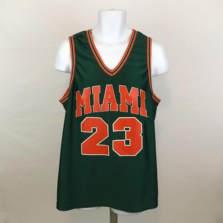 Vintage Majestic Miami Hurricanes Basketball Jersey L #23 Sleeveless Made in USA #Majestic #MiamiHurricanes