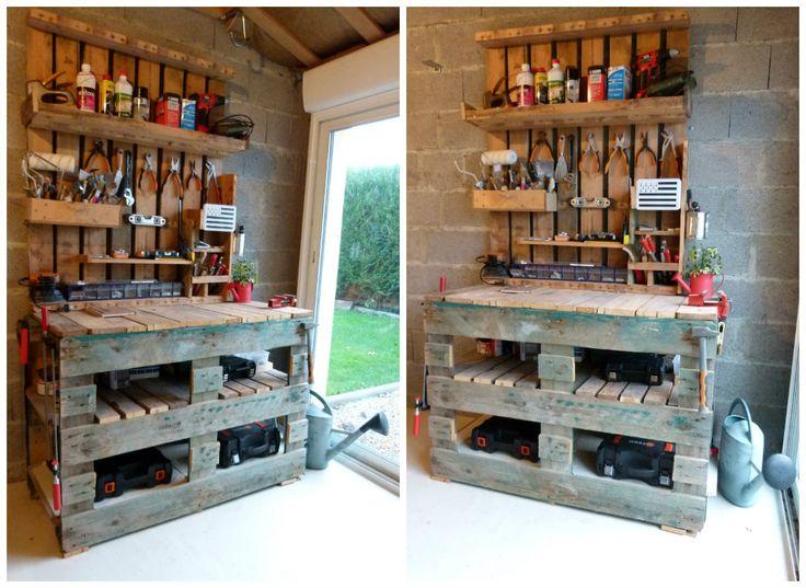 DIY - Établi en palette. Ce tutoriel propose de fabriquer un établi sur-mesure 100% récup à partir de bois de palette. Un modèle facile à réaliser avec des outils de base. Il ne coûte pas cher et permet de ranger tout son matériel de bricolage ou de jardinage.