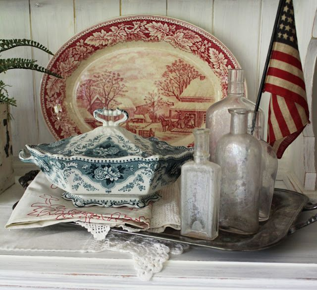 Beautiful vintage red and blue transferware vignette. From Itsy Bits and Pieces.
