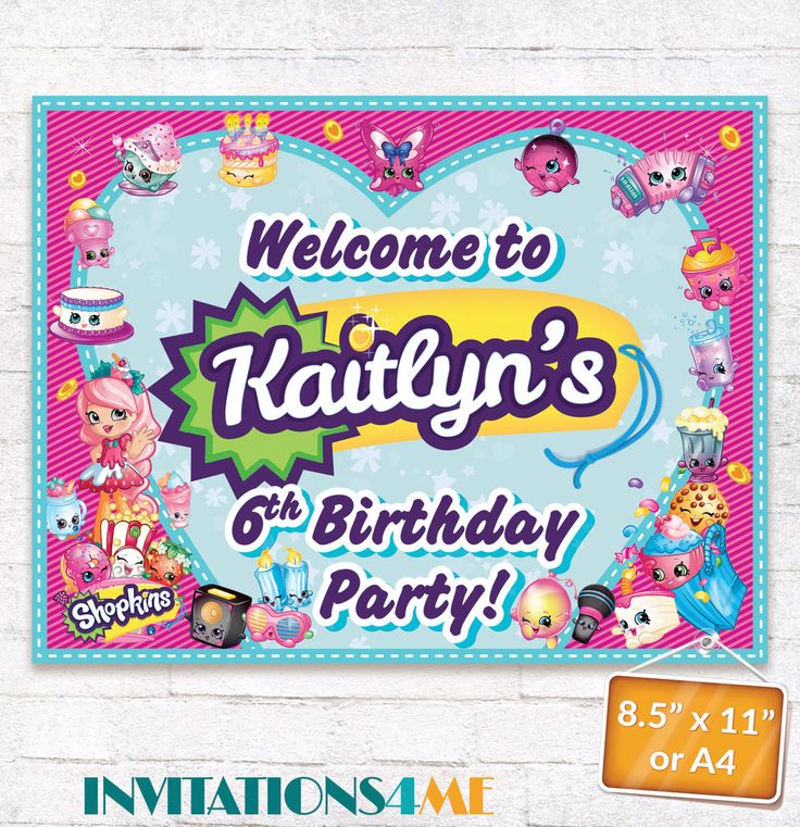 Shopkins Welcome Sign Shopkins Birthday Party Poster with matching Invitation Customized Digital File by INVITATIONS4ME on Etsy