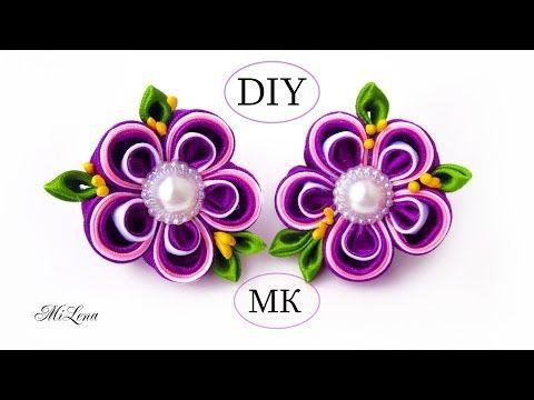 Резинки канзаши, МК / Простые канзаши / DIY Scrunchy with Kanzashi flower - YouTube