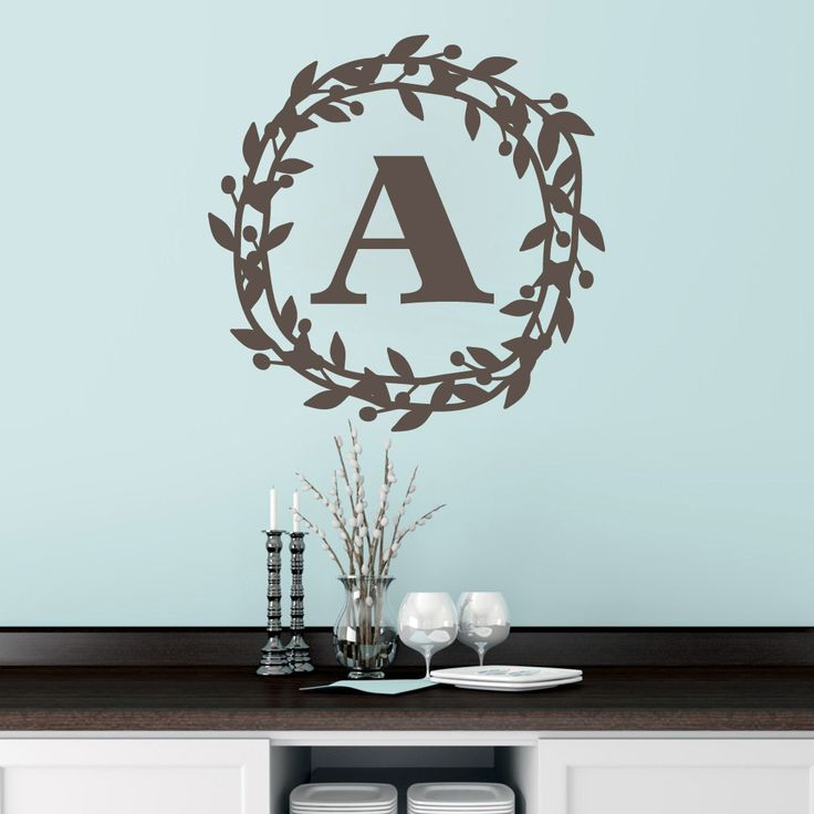 Custom berry wreath monogram wall decal sweetums wall decals