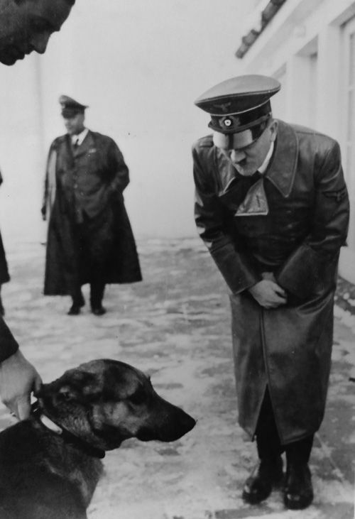 """Photos of Adolf Hitler with """"Wolf"""" taken by Eva Braun. (She notes that the dog is three to four years old.)"""