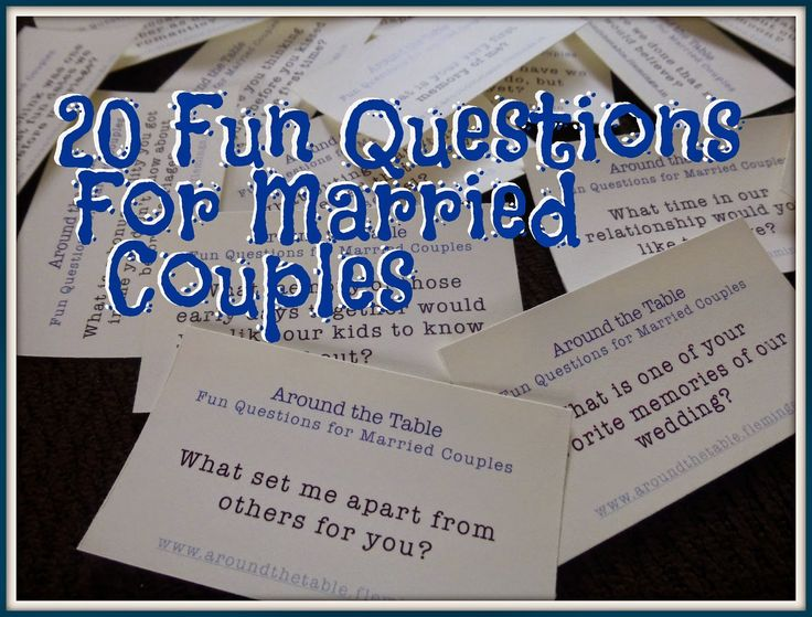Just the Two of Us -- 20 Fun Questions for Married Couples. We used them on our anniversary outing and had 4 hours of great conversation in the car! Then we gifted them to our married son and daughter-in-law to use for their date nights.