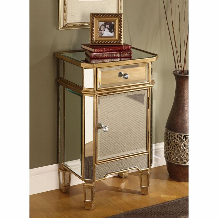 Mirrored Nightstand Antique Chest Of Drawers Accent Gold