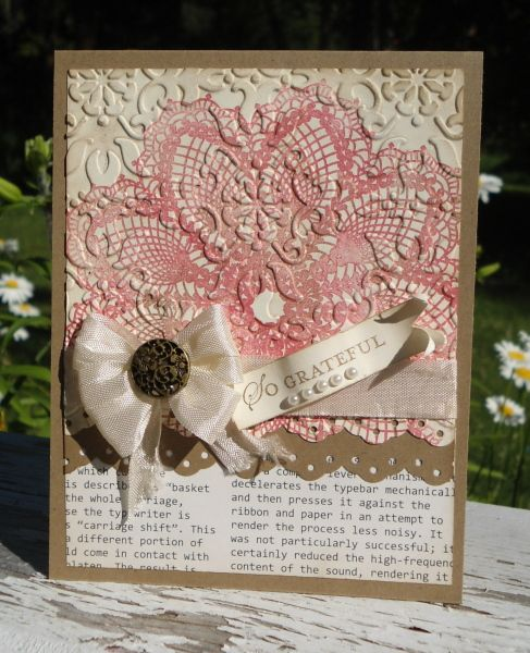 "Vintage Goodness Pink ""Doily"" Card...like the doily stamp then embossed"
