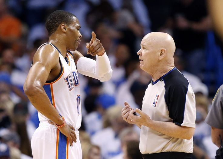 Oklahoma City's Russell Westbrook (0) argues a call with referee Joey Crawford during Game 4 of the Western Conference Finals in the NBA playoffs between the Oklahoma City Thunder and the San Antonio Spurs at Chesapeake Energy Arena in Oklahoma City, Tuesday, May 27, 2014. Photo by Nate Billings, The Oklahoman