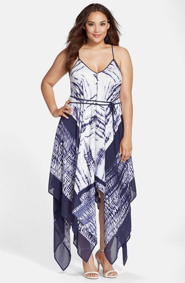 Handkerchief Hem Maxi Dress (Plus Size)