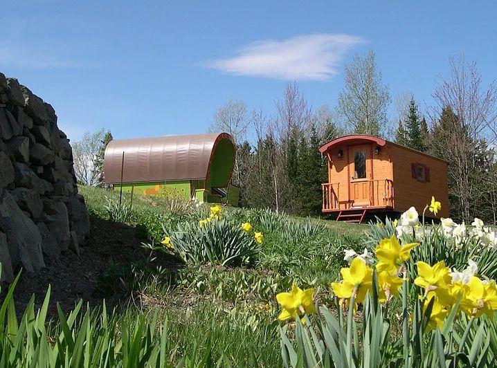 Fabricant de roulottes gitane hippomobile au Québec offrant à la vente des voitures d'attelage pour chevaux fermées pour randonnées, voyages et hébergement .