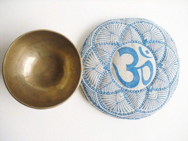 Handmade Round Blue Om Mandala singing bowl cushion, yoga, meditation and healing room decor, Aum blue & off-white hand quilted linen pillow by GaneshasRat on Etsy