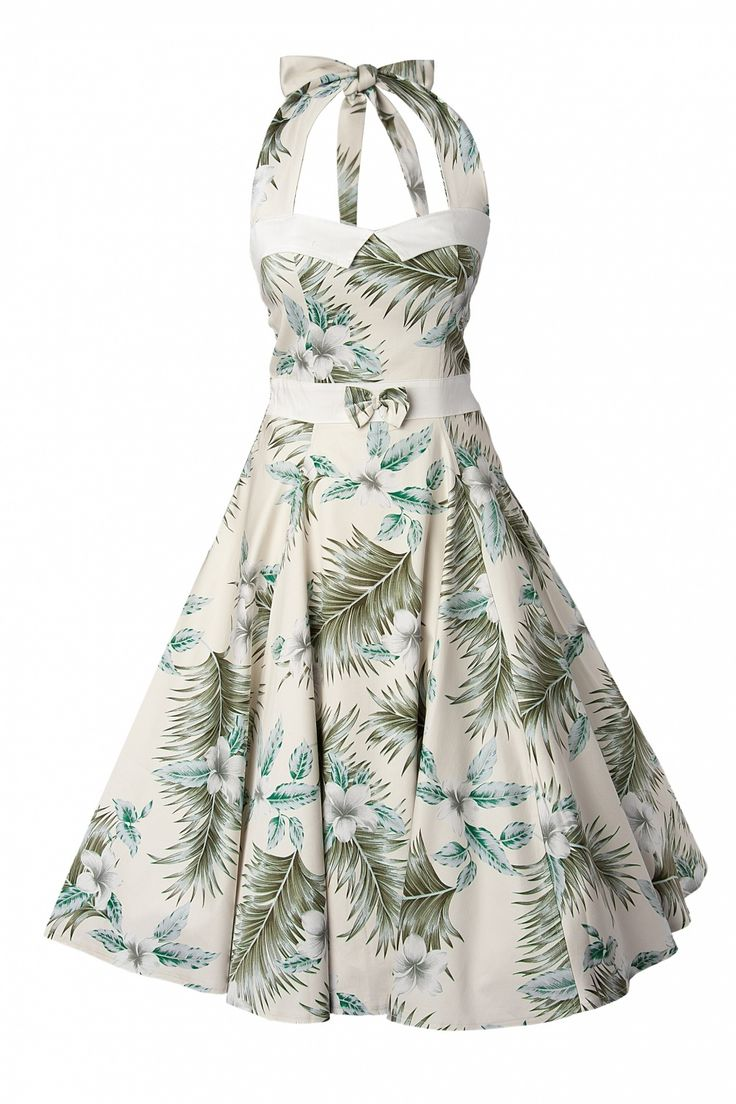 Collectif Clothing - 50S Stella Sweetheart Doll White Hibiscus swing dress