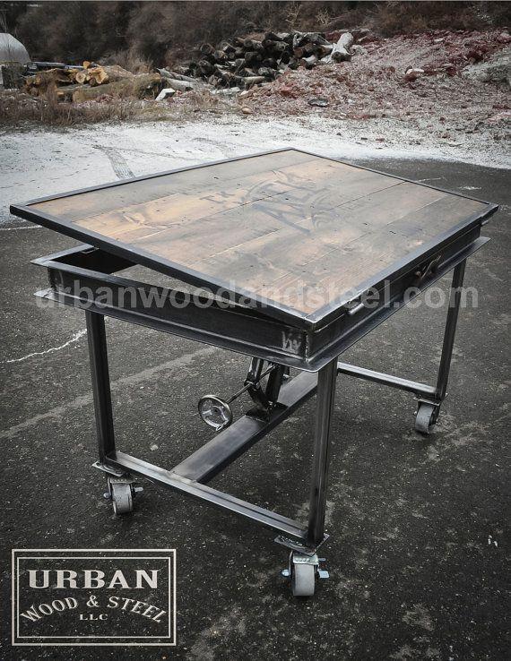 Industrial Adjustable Drafting Table by urbanwoodandsteel on Etsy