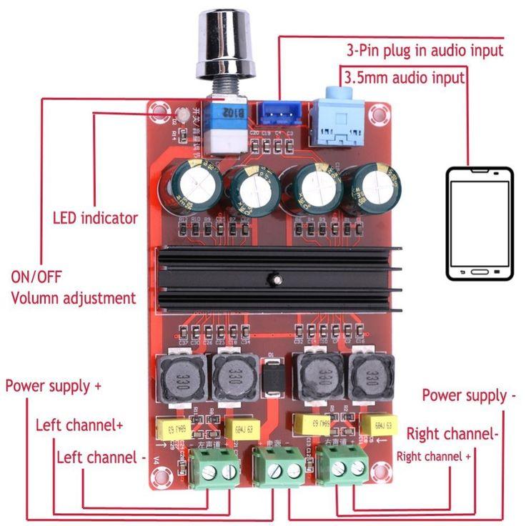 XH-M190 Tube Digital Amplifier Audio Board TPA3116 Power Audio Amp 2.0 Class D Amplifiers Stereo HIFI amplifier DC12-24V 2*100W