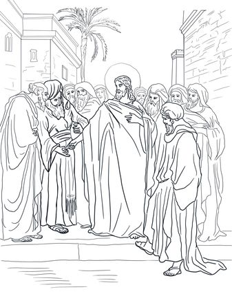 Pharisees Question Jesus About Taxes Coloring Pages