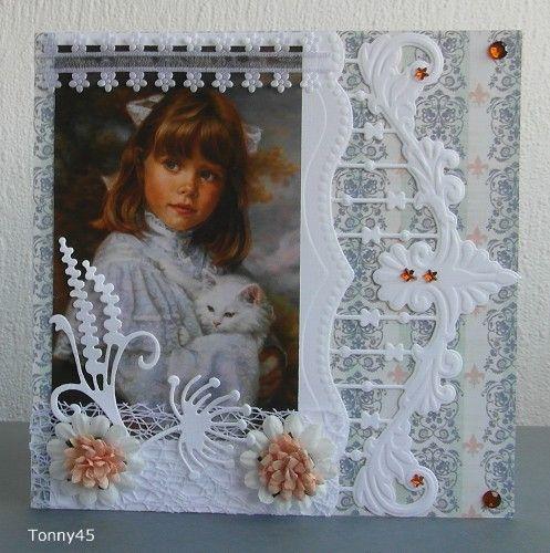 Voorbeeldkaart - meisje met poes - Categorie: Scrapkaarten - Hobbyjournaal uw hobby website