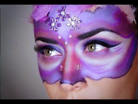 Trucco viso maschera di carnevale viola - VideoTrucco