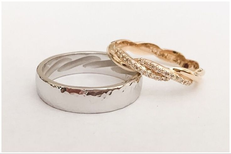 Secretly matching wedding bands.  Brides design is imprinted into grooms ring.