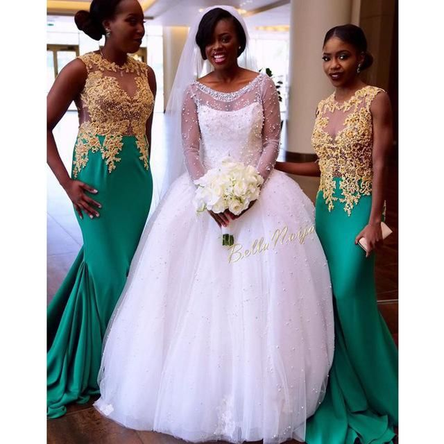 Aqua 2017 Mermaid Nigerian Wedding Ceremony Dress Gold Appliques Beaded Maid Of Honor Wedding Party Dress Bridesmaid Dresses Bridesmaids Gowns Champagne Colored Bridesmaid Dresses From Marryme3, $105.53| Dhgate.Com