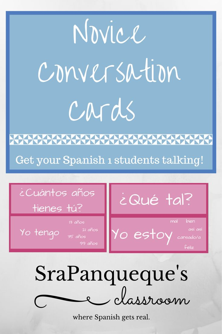 """Getting students at a novice Spanish level to speak in Spanish can be very difficult because they are so afraid! Get your students talking with these conversation cards (30). These cards have common questions that students should learn in Spanish 1 or in Junior High Spanish, such as """"¿Cómo estás tú?"""" """"¿Cómo está usted?"""" """"¿De qué color es?"""" etc. It can be used as bell work, a station activity, or whatever you'd like to use it as! :) Just get your kids talking!"""