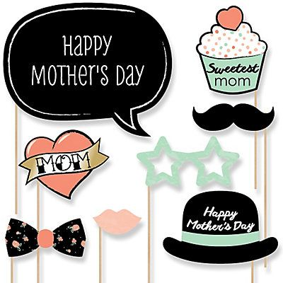 Best Mom Ever - 20 Piece Photo Booth Props Kit | BigDotOfHappiness.com