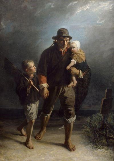 JOZEF ISRAËLS: LANGS HET KERKHOF / LANGS MOEDERS GRAF, 1856 (At mothers grave)