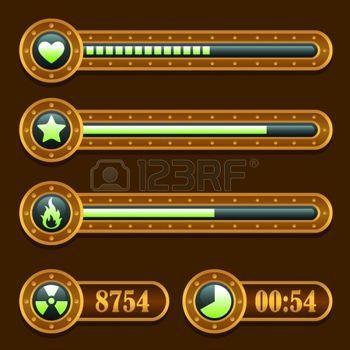 Game steampunk energy time progress bar icons set photo