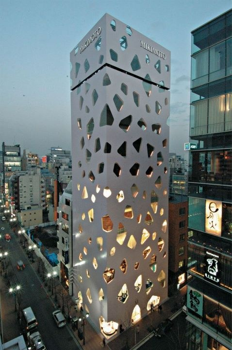 Mikimoto Building - Tokyo by Toyo Ito & Associates - Headquarters for the Mikimoto Company, a cultivator of luxury pearls.