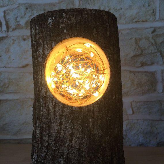 Handmade Log Lamp Table Lamp Desk Light Real Wooden Log Lantern Bird Birds Nest Copper Wire Rustic Unusual Festive Christmas Lantern