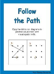 Follow the Path - Visual Spatial Activities. See the other Visual Perceptual and Visual Motor Skill Activities DOWNLOADS.