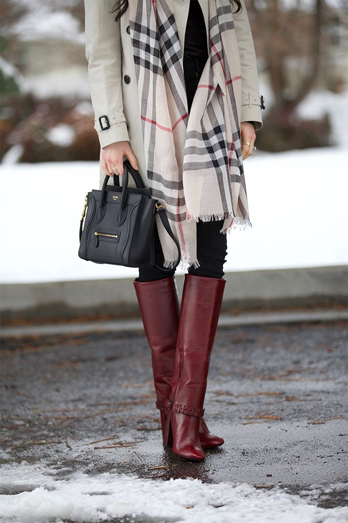 Coat:Burberryvia Saks | Scarf:Burberryvia Saks | Turtleneck: Vince | Jeans: Citizens (similar stylehere) | Boots: Tory Burch | Bag: Celine (lovethis style– under $200!) | Sunglasses:Tom Ford …. Over the weekend we got a mixture of rain and snow and it was super cold! Even though I don't always love the cold temps I do [&hellip