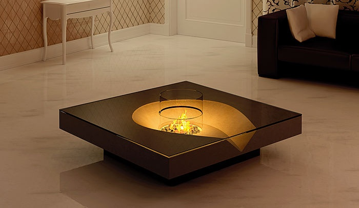 Contemporary coffee table with bio ethanol burner planika fires side tab - Table basse bio ethanol ...