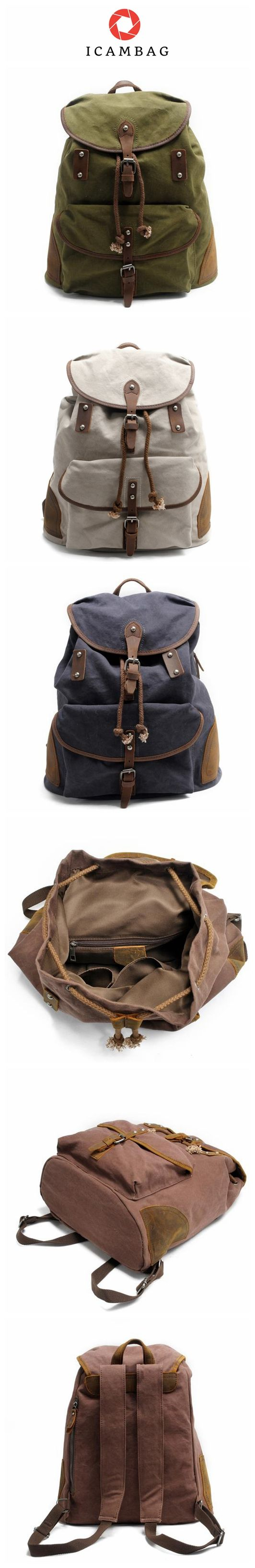 England Leisure Leather Canvas Backpack Shool Bag 82043K