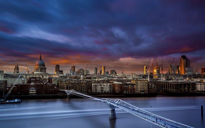 Descargar fondos de pantalla El Puente del milenio en Londres, panorama de la Ciudad, Inglaterra, tarde, puesta de sol, la Catedral de San Pablo, Río Támesis
