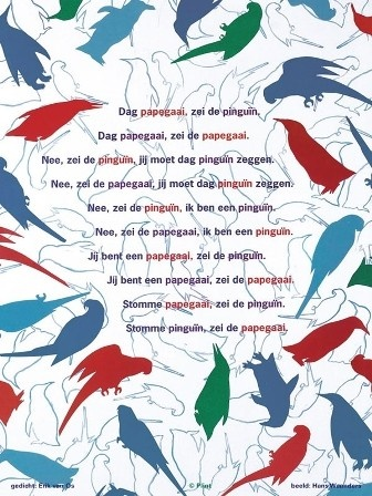 Poëziekaart Plint - De pinguïn en de papagaai - Erik van Os en Hans Waanders