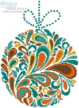 Colourful Christmas Bauble 2 - Cross Stitch Chart - Click Image to Close