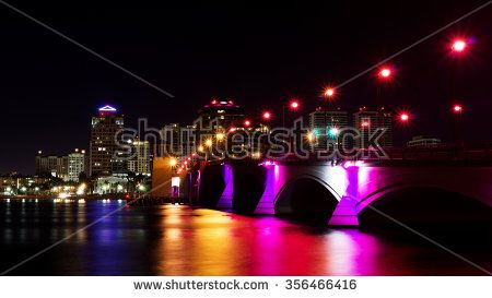 Bridge in pink lighting at night