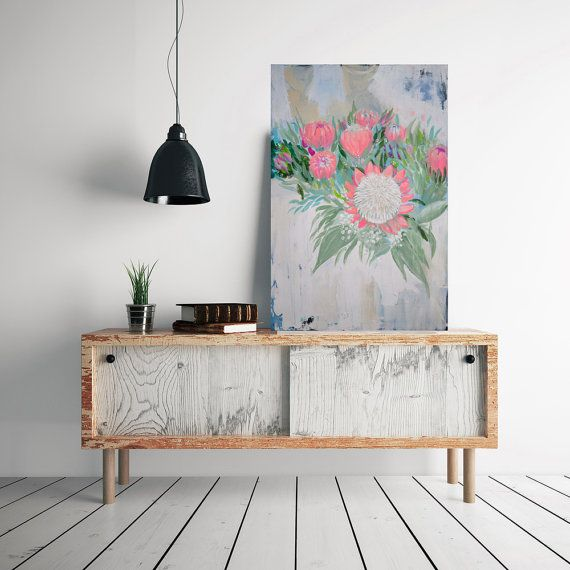 LARGE ORIGINAL abstract painting, protea flower art, wedding bouquet, floral painting by Julianne Strom