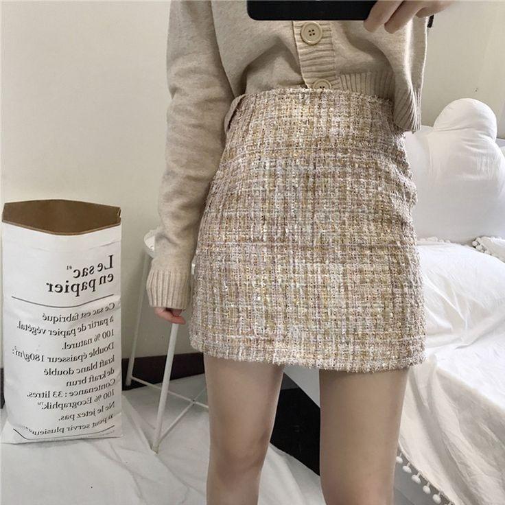 Retro Cintura Alta Falda de Tweed Otoño Estilo Vintage Sexy Mini Short falda de una Línea de Kawaii Jupe Courte Gonne Faldas Cortas A Saia en Faldas de Moda y complementos de mujer en AliExpress.com | Alibaba Group