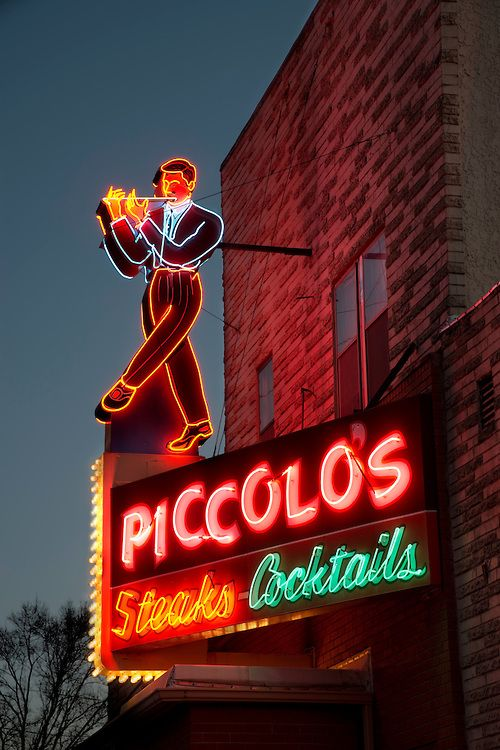 Vintage neon still glows in Omaha.  Piccolo Pete's Restaurant opened in South Omaha in 1934 and the warm glow of neon still beckons diners to the classic Italian steak house.