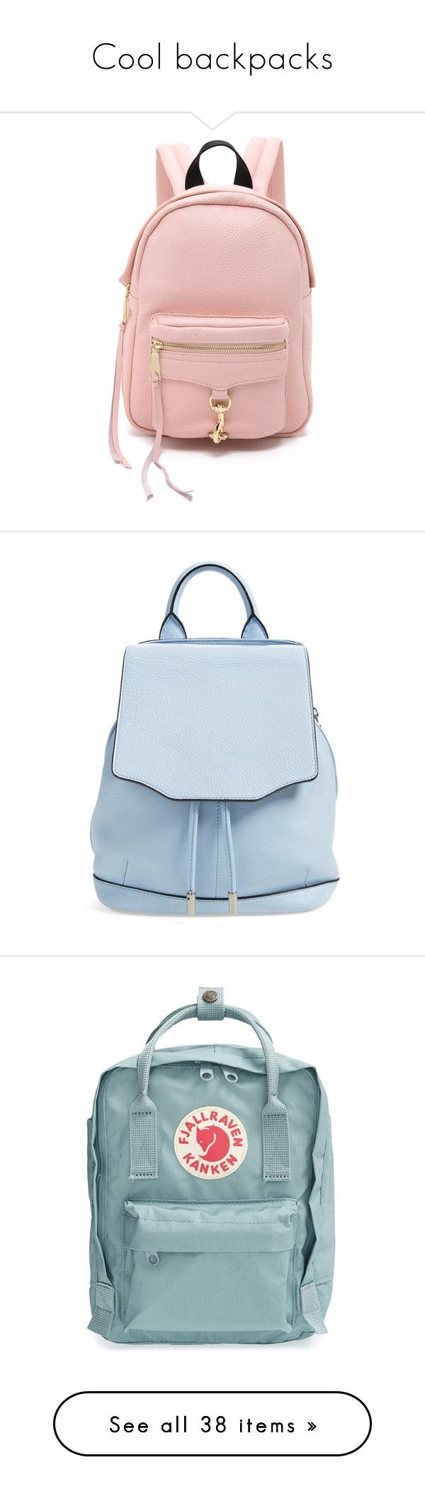 """Cool backpacks"" by gmoney21 ❤ liked on Polyvore featuring bags, backpacks, backpack, baby pink, genuine leather backpack, leather zip backpack, pink backpack, rebecca minkoff backpack, pink mini backpack and light blue"