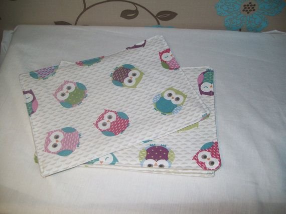 4 x Owl Print Table Mats by TyCwtch on Etsy, £10.00