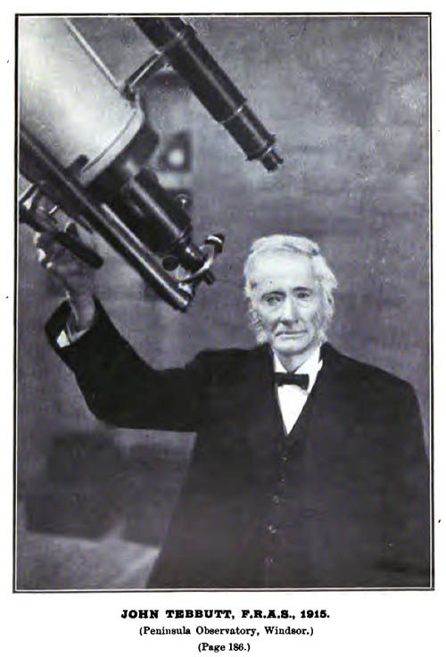 John Tebbutt with his telescope at Windsor, NSW.