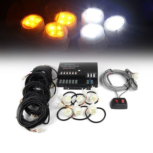Xprite Amber & White 120W 6 LED Bulbs Hide-A-Way Strobe Lights
