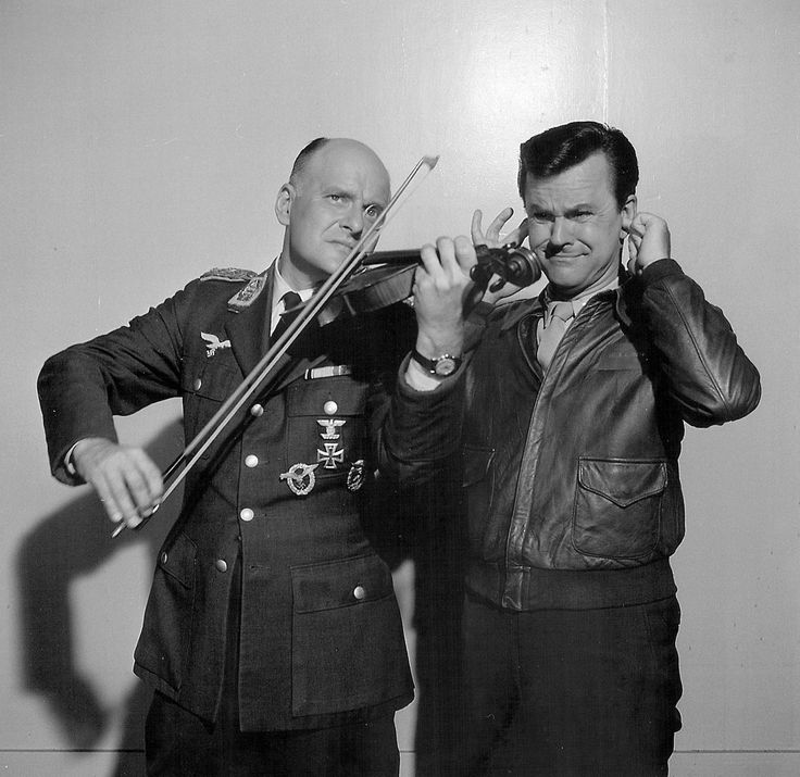 Bob Crane and Werner Klemperer in a promo photo for Hogan's Heroes.