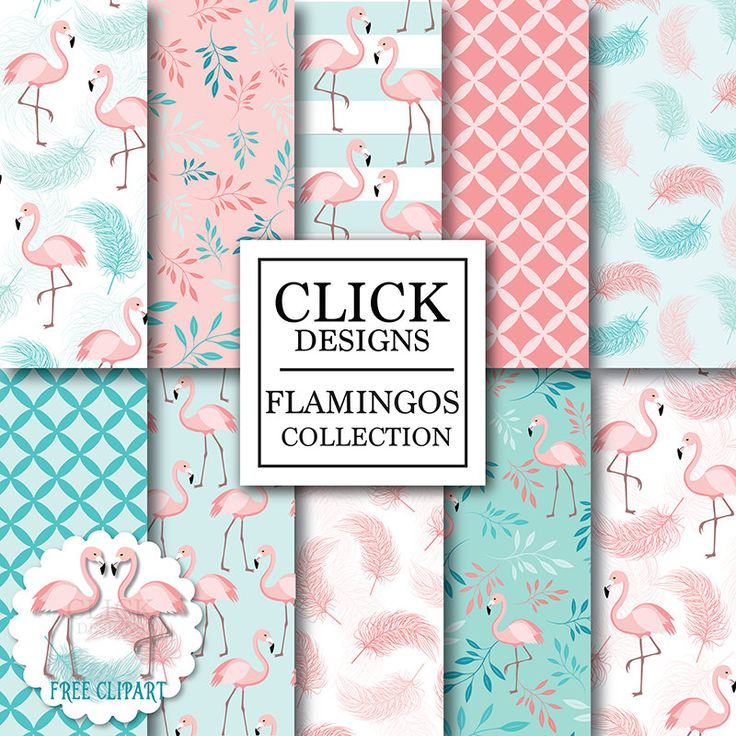 Flamingo Digital Paper: FLAMINGOS birds in pink door ClickDesigns
