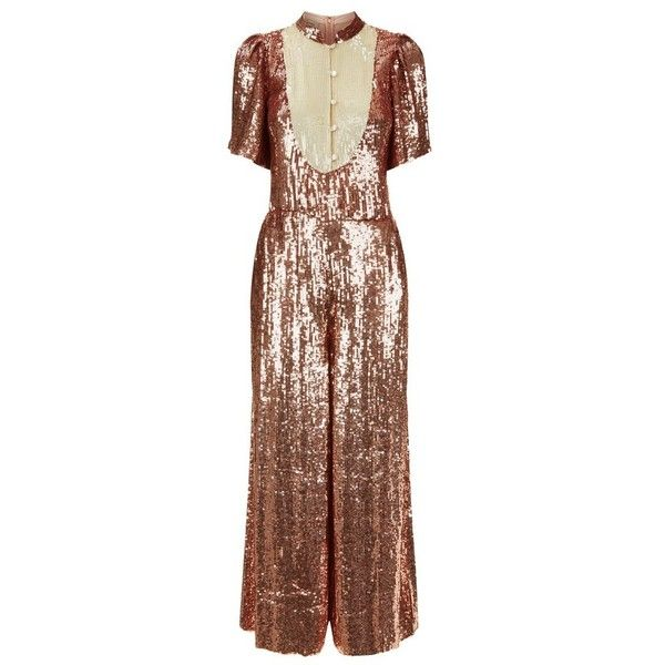 Temperley London Filigree Jumpsuit ($3,095) ❤ liked on Polyvore featuring jumpsuits, neutral, jump suit, sequin jump suit, wide leg jumpsuit, sequin jumpsuit and temperley london