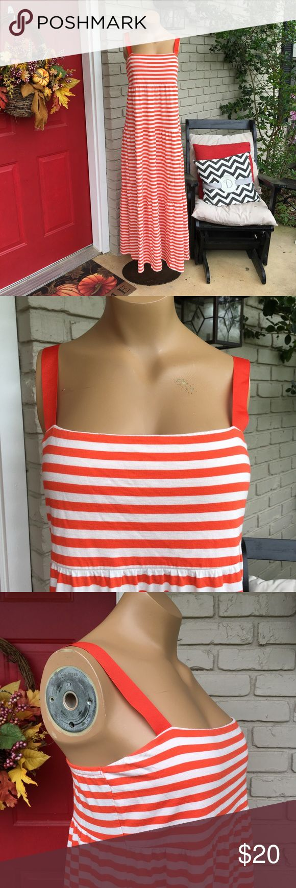 Old Navy orange white stripe maxi dress Orange white striped maxi dress with orange ribbon straps. So cute and Summery! Old Navy Dresses Maxi