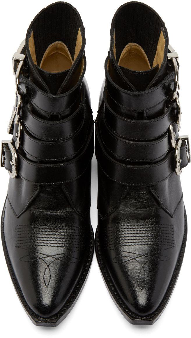 Toga Pulla: Black Western Buckle Boots   SSENSE