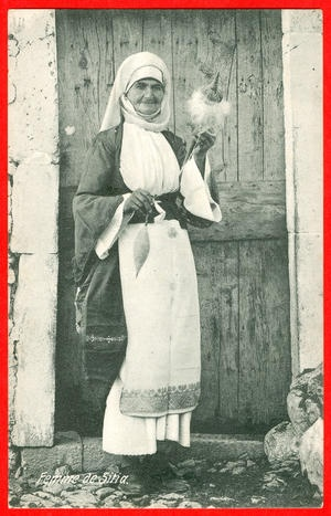 Greece, Crete, Sitia, woman spinning